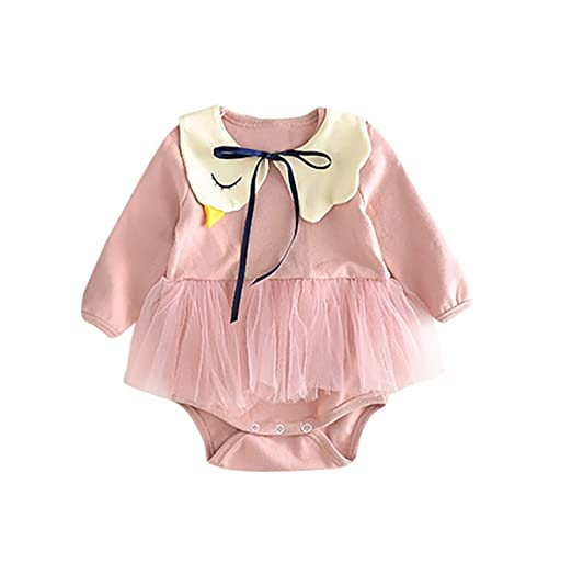 05052656169 Sameno Newborn Baby Girls Swan Solid Color Long Sleeve Dress Romper Jumpsuit+Bib  Clothes Outfits