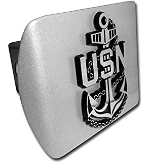 Ultra Premium US Marine Silver /& Gold Emblem on Black METAL Hitch Cover