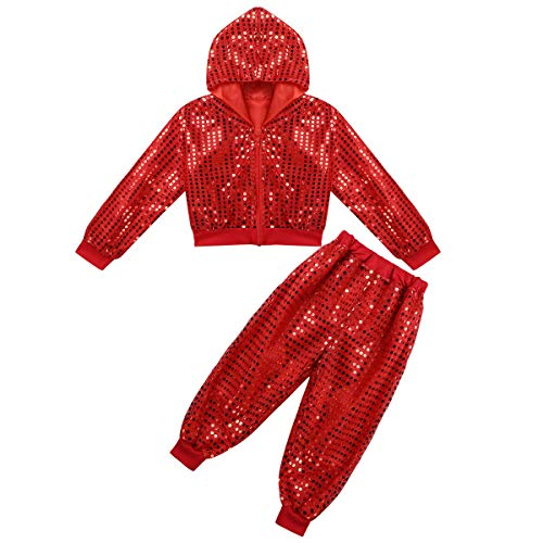 dPois Boys Girls' Hip-hop Jazz Performance Sparkly Outfits Shiny Sequined Long Sleeves Hooded Jacket with Pants 2PCS Set Red -
