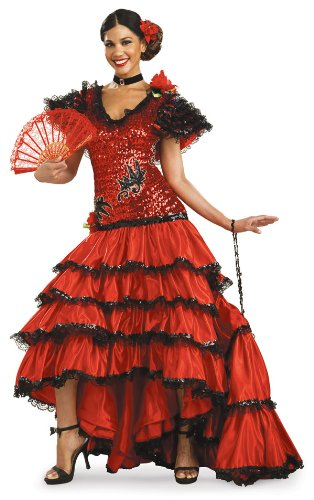 Adult Super Deluxe Red Spanish Beauty Costume - Womens Small (Adult Spanish Dancer Costume)