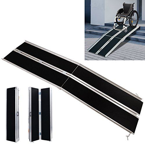 (Bi-fold Threshold Wheelchair Mobility Walker Entry Plate Ramp Non-slip Ramp Loading Wheelchair Handicap Mini Van Scooter | 120x28 Inch, 600 lbs)