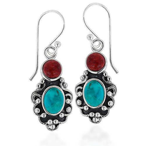 925 Oxidized Sterling Silver Red Coral and Blue Turquoise Gemstone Vintage-Style Dangle Earrings