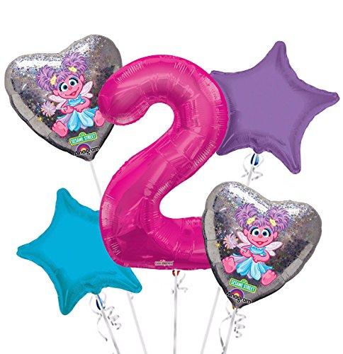Sesame Street Abby Cadabby Balloon Bouquet 2nd Birthday 5 pcs - Party (Abby Cadabby Birthday Supplies)