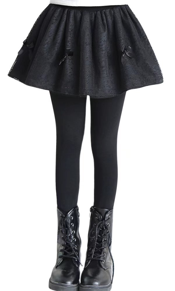 SANGTREE GIRL Little Girls Spring Solid Skirt Leggings Tights Culottes Yarn Tutu Pants, Black, Age 5T - 6T (5-6 Years) = Tag 130
