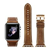 Apple Watch Strap 42mm iStrap Genuine Leather Replacemnt Band Rose Gold Classic Pin Buckle Adapter Seamlessly Fit For Apple Watch Sport Edition For iWatch Series 1 and Series 2 -Brown