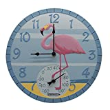 """Taylor Precision Products 92680 14"""" Poly Resin Flamingo Clock with Thermometer, Dial, Multicolored"""