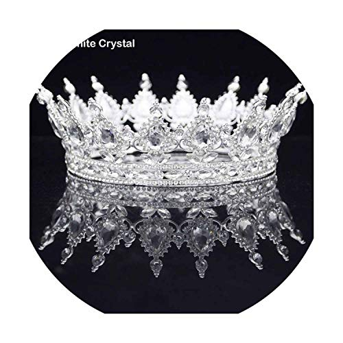 Round Bride Crown Diadem Women Headdress Royal Queen King Tiaras and Crowns Prom Pageant Wedding Hair Jewelry Accessories,Silver White