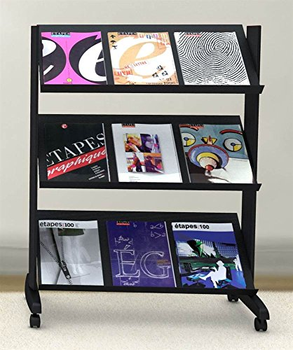 PaperFlow Half-Sized Mobile Literature Display, Single Sided, 3 Shelves, 49.8x33.67x15.17 Inches, Gray (253N.02)