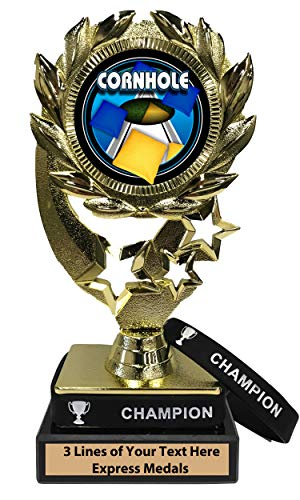 - Express Medals Cornhole Trophy with Removable Wearable Champion Wrist Band Marble Base and Personalized Engraved Plate