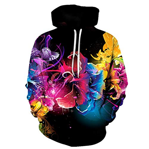 3D Hoodies Men's Blue Water Drop Lily Hoodie Leisure Pullover Sweatshirts Water Drop Lily 08 XXL