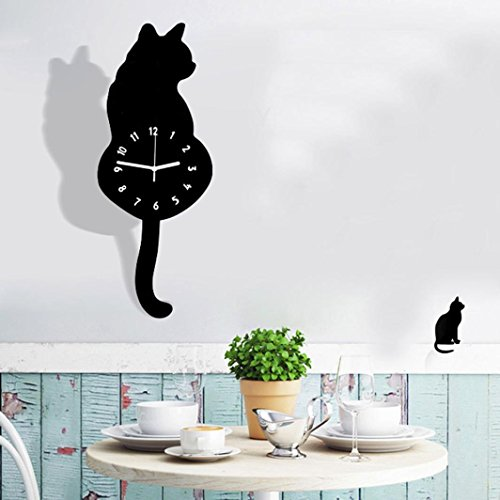 """Wall Clock Metal Cat (LiPing 15.8"""" Swing Tail Cat Acrylic Creative Cartoon Wall Clock - Easy To Read & Install Best For Home/Office/School Universal Use, Battery Operated (D))"""
