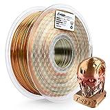 AMOLEN PLA 3D Printer Filament, Silk PLA Filament Multicolor 1.75mm, 20% Real Metal Silk Rainbow 3D Printing Filament 1 kg