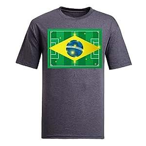 Brasil 2014 FIFA World Cup Theme Short Sleeve T-shirt,Football Background Mens Cotton shirts gray