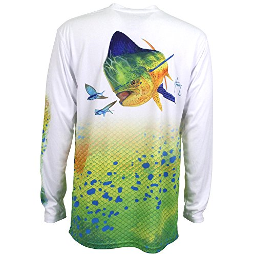 Guy Harvey Men's Dorado Pro UVX Performance T-Shirt, White, Large