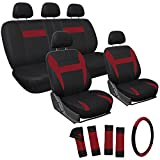 OxGord Car Seat Covers - Mesh Fabric (Red / Black) (17 Piece)