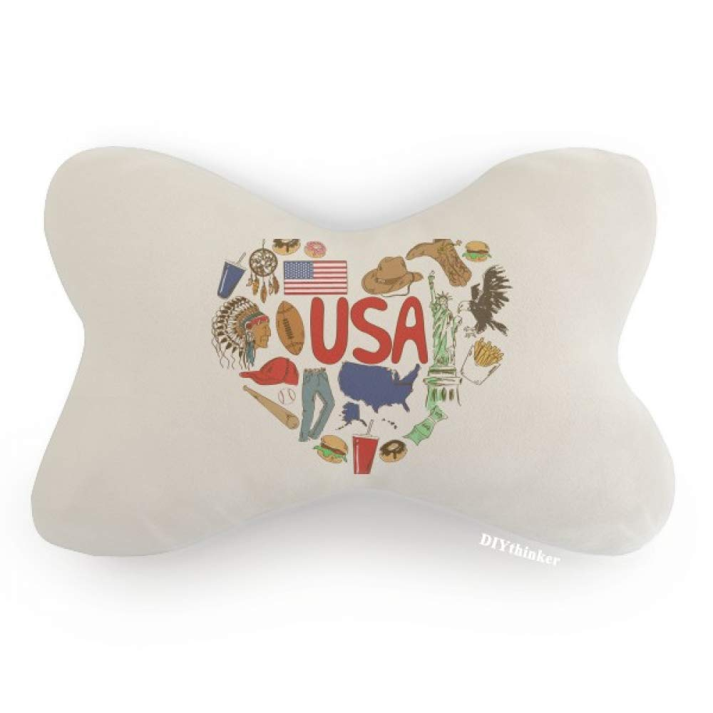 DIYthinker USA America Love Heart National Flag Car Neck Pillow Headrest Support Cushion Pad