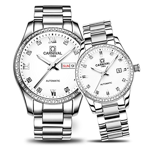 CARNIVAL Couple Watches Men and Women Automatic Mechanical Watch Fashion Chic for Her or His Set of 2 (White) by Carnival