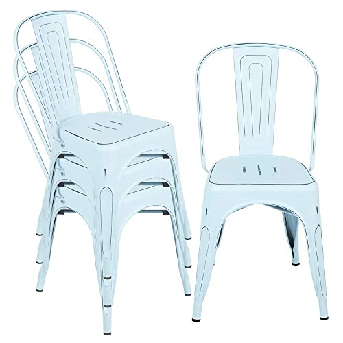 Metal Kitchen Dining Room Chairs, Stackable High Back Farmhouse Chair, Distressed Chic Outdoor Patio Restaurant Chair,330lbs Heavy Duty, Set of 4 Light Blue