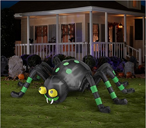 Halloween Inflatable 8' Animated Spider with Spinning Eyes By Gemmy ()