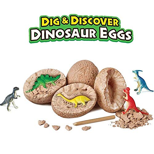 NeatoTek Dinosaur Egg Dig Kit - Break Open Ultimate 12 Dinosaur Eggs Science Kit and Discover 12 Cute Dinosaurs - Easter Archaeology Science STEM Gift (Discover Pack)