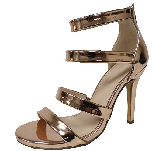 Cambridge Select Women's Open Toe Strappy Back Zip Stiletto High Heel Sandal (7 B(M) US, Rose Gold)