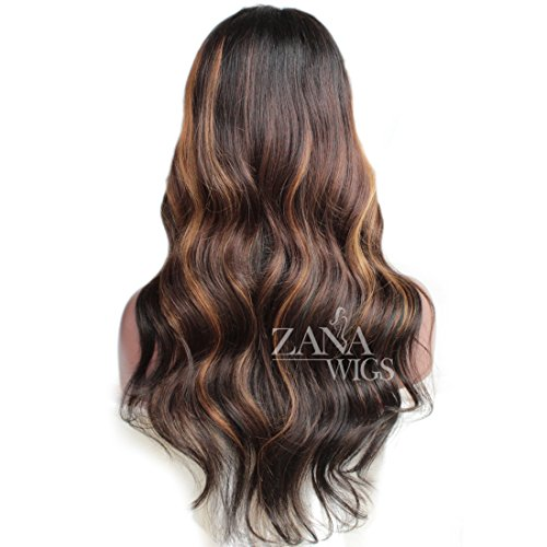 ZANA Brazilian Virgin Remy Hair Lace Front Wigs with Baby Hair Body Wave Glueless Human Hair Wigs for Black Women Ombre Color by Zana (Image #2)