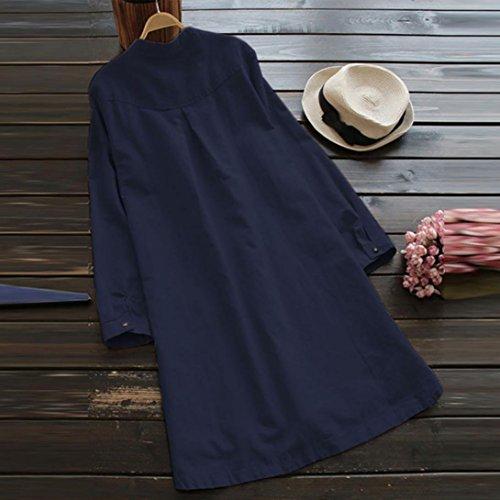 Jaysis Bouton Automne Coton LaChe Nouvelle Confortable Chaude Bleu Femmes Longues Robe Femmes des Manches Automne Jupe Nouvelles rr8wqd0