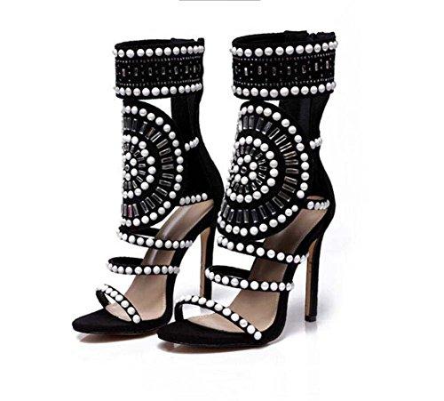 Hueco Botines Zapatos bomba Zapatos de 10 de abierta de corte gran la Punta Zapatos aguja tamaño la Pearl tacón Zipper Mujeres 5 de OL Rhinestone cm de Negro Zapatos Tamaño fiesta vestir de Zapatos de Roma IZqxvwRtnY