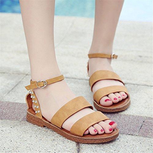 Sandalias Verano Mujer zapatos remache Brown