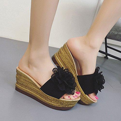 Classico Nero All'aperto Impermeabile Design Shoe Moda Casuale Spiaggia Sandals Piattaforma Floreale Cuneo Sandali Estate Donna Polpqed Metallo Pantofole vTFAIZT