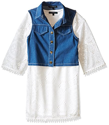 My Michelle Big Girls' Crochet Lace Sheath Dress Pom Fringe and Denim Vest, Ivory, 8