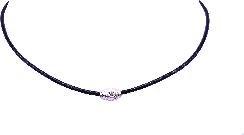 Cozylife Chicas Gargantilla Collar Cuerda de Cuero Collares Cortos Mujeres con Plata/Oro Plated Metal Beads