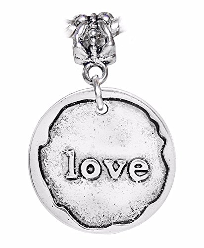 Love Wax Stamp Word Medallion Dangle Charm for Silver European Bead Bracelets Crafting Key Chain Bracelet Necklace Jewelry Accessories - Hugger Medallion