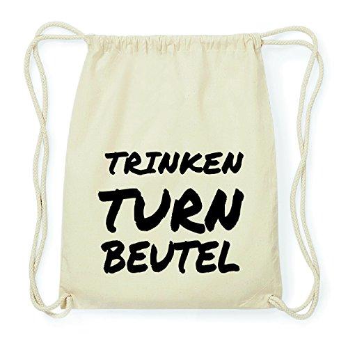 JOllify TRINKEN Hipster Turnbeutel Tasche Rucksack aus Baumwolle - Farbe: natur Design: Turnbeutel