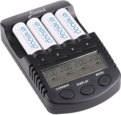 BlueTech Rechargeable Battery Charger with USB Charging Port