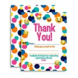 Emoji Themed Thank You Notes for Kids, Ten 4'' x 5.5'' Fill In The Blank Cards with 10 White Envelopes by AmandaCreation