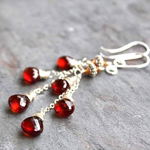 Gemstone Rust (Long Dangly Spessartite Garnet Earrings Sterling Silver Cascade Rust Red Gemstones)