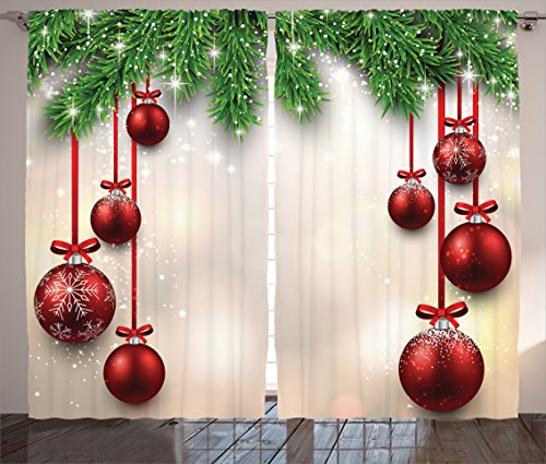 Ambesonne Christmas Curtain Red Green Decorations by, Xmas Inspired Winter Season Theme Fir Twigs and Vibrant Balls Decor Graphic Print, Living Room Bedroom 2 Panels Set, 108 X 84 Inches, -