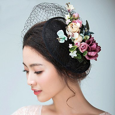 zhENfu Women's Satin/Flax Headpiece-Wedding/Special Occasion Fascinators/Hats/Birdcage Veils 1 Piece With Flowers,Black Headdress