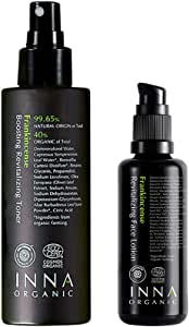 Inna Organic Frankincense REVITALIZING FACE Toner and Lotion Set, Anti-Aging, Wrinkle Care, Moisturizing, Luxury Clean Beauty, Certified Organic