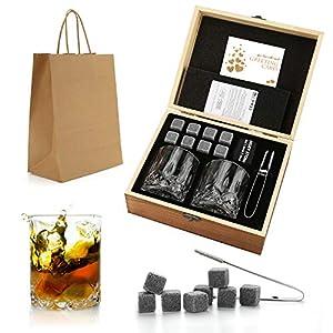 Set da regalo di pietre e bicchieri di whisky, pietre di whisky pietre da brivido in scatola di legno fatta a mano… 19