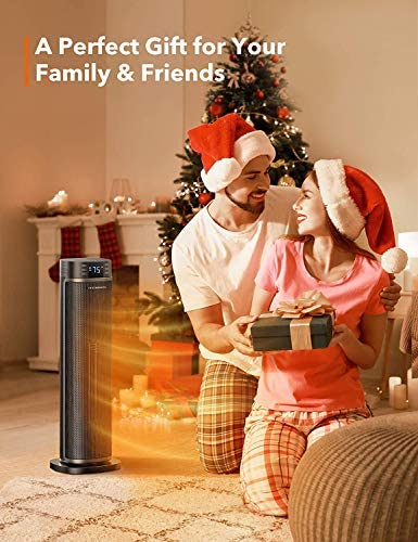 TaoTronics Space Heater, 1500W Electric Heater Portable Heaters Indoor Use, Oscillation ECO Mode 12 Hours Timer with Remote Control Tip-over Protection