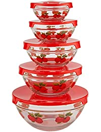 Bargain WalterDrake Red Apples Glass Bowls - Set of 5 compare