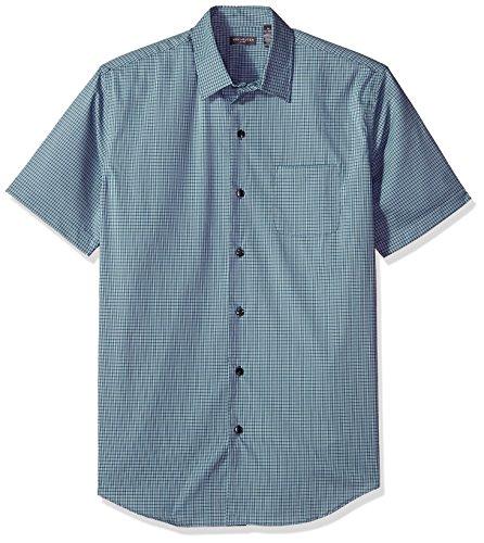 Van Heusen Men's Flex Stretch Short Sleeve Non Iron Shirt, Low Tide Check, Large Check Non Iron Shirt