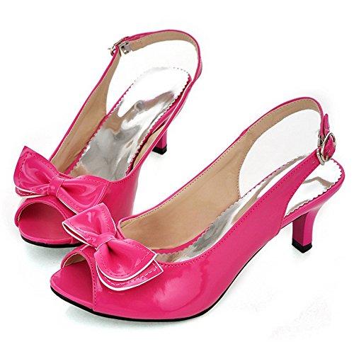 Rojo Slingback Tacon con Bowknot Medio Moda Tacon TAOFFEN Mini Sandalias Mujer Zapatos 7PfUnqFWaw