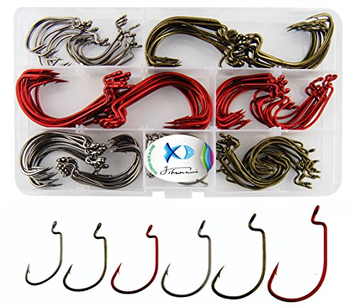 JSHANMEI Worm Hooks Fishing High Carbon Steel Wide Gap Saltwater Freshwater Strong Senko Bait Jig Fish Hook for Bass Trout with Box Packed #1-5/0 (150pcs/box Mixed Hooks Color)