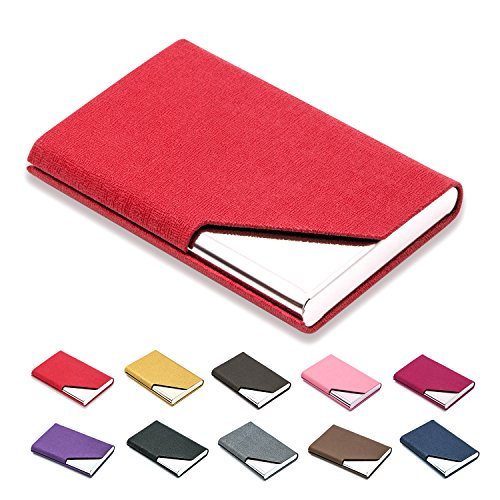 Business Name Card Holder Luxury PU Leather & Stainless Steel Multi Card Case,Business Name Card Holder Wallet Credit Card ID Case/Holder for Men & Women - Keep Your Business Cards Clean (Red) ¡