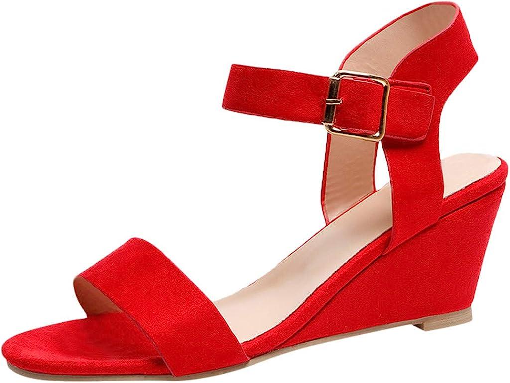 Sandalias de Vestir Tacón Altas Cuña para Mujer Verano Primavera 2019 PAOLIAN Calzado Fiesta Tacón Ancho Elegantes Tallas Grandes Zapatos Piel sintético Dama Escuela 35-43 EU