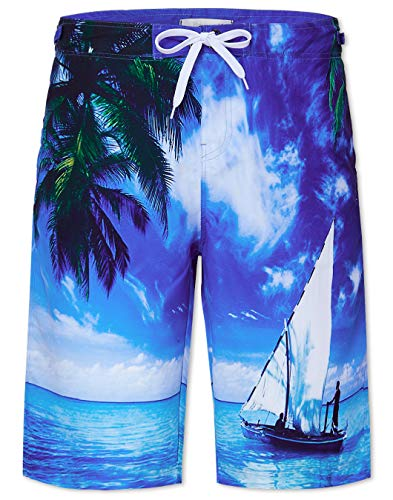 (Leapparel 80s Adult Plus Size Coconut Tree Boardshorts Men's Swim Trunk Quick Dry Side Pockets Casual Surf Yoga Water Jogging Training Lightweight Clothing X-Large)