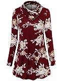Laksmi Ladies Blouses, Women's Cowl Neck Long Sleeve Versatile Tops Casual Slim Tunic Floral Tops,Multicolor Red XX-Large
